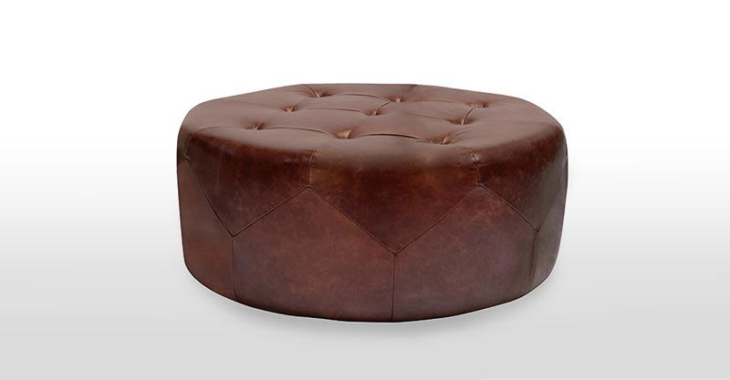 distressed leather ottoman coffee table3