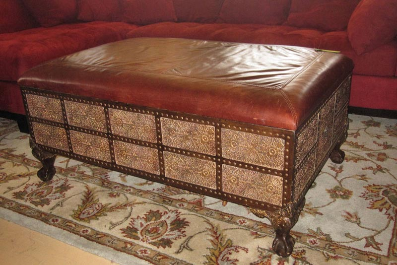 distressed leather ottoman coffee table4