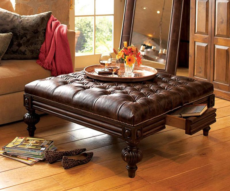 distressed leather ottoman coffee table5
