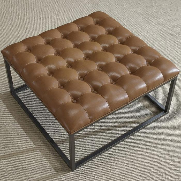 distressed leather ottoman coffee table6