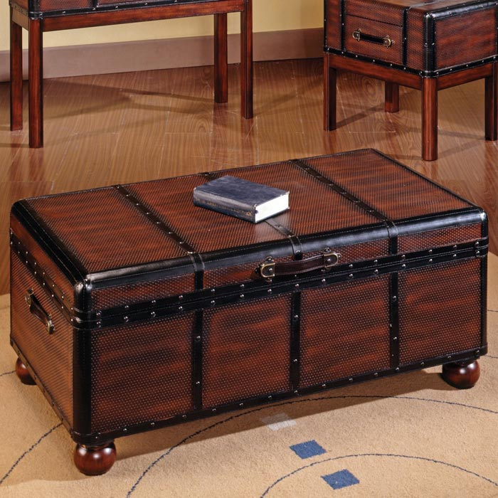 oak storage trunk coffee table