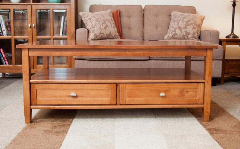 solid wood coffee table with drawers