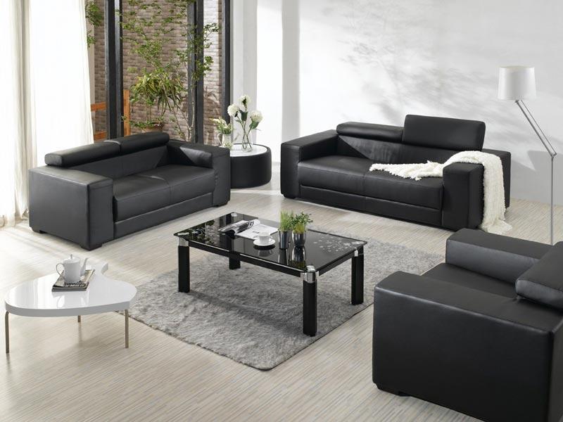 2909 black leather sofa set
