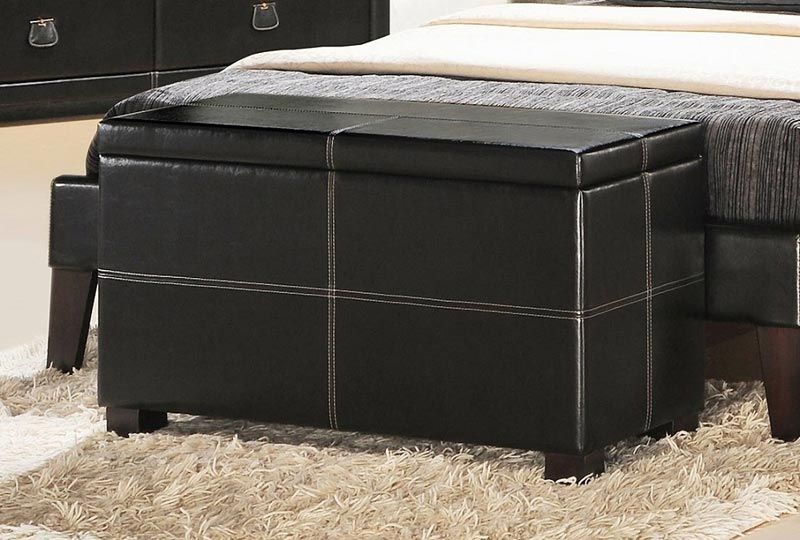 bedroom storage bench black