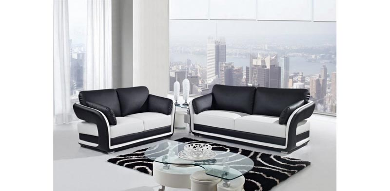 : black and white leather sofa set