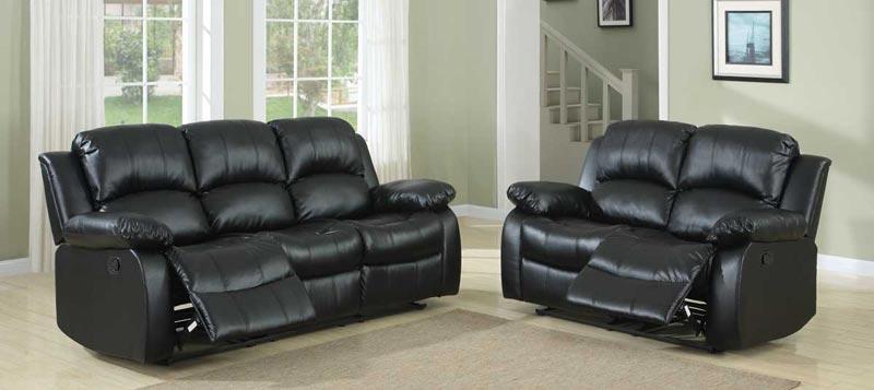 : black leather recliner sofa set