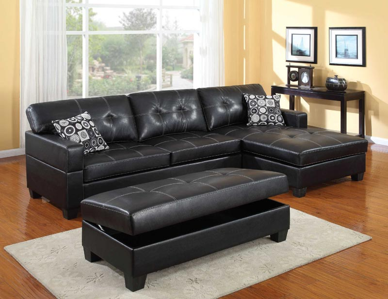 : black leather sectional sofa set