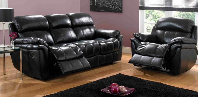 : black leather sofa and chair set