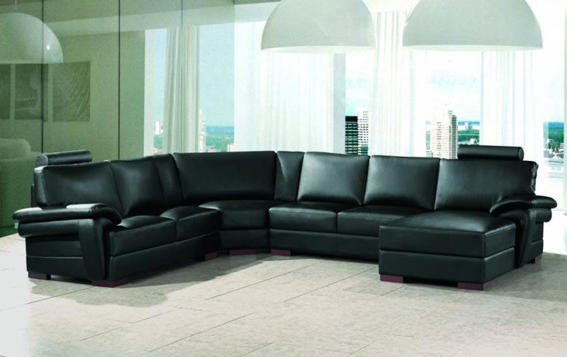 : black leather sofa sectionals