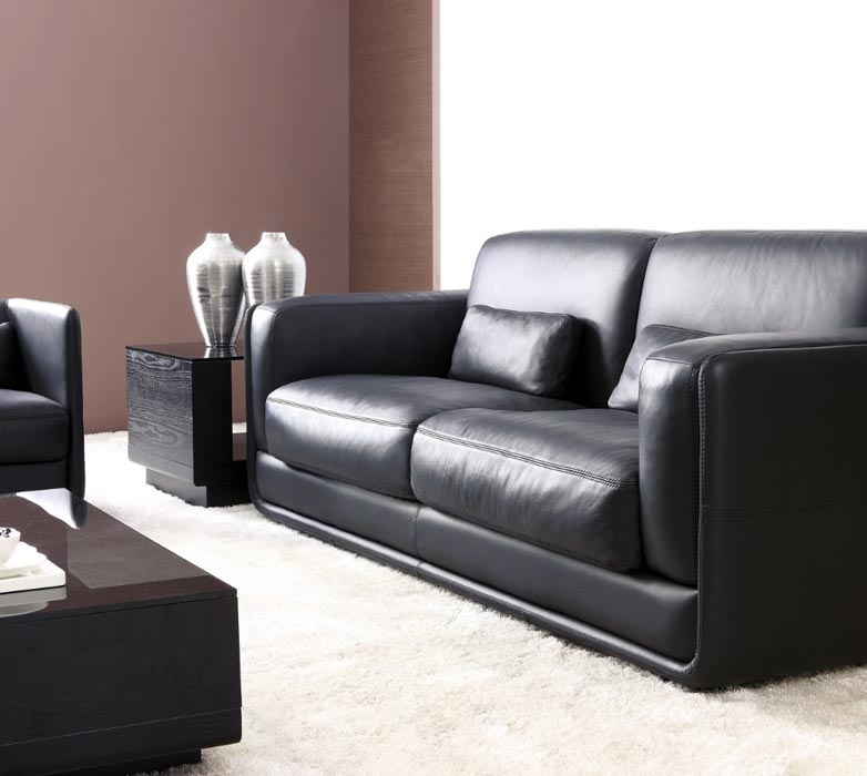 : black leather sofa set cheap