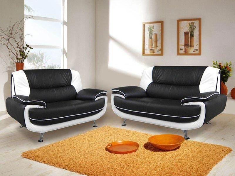 : carol black leather sofa set 3 + 2