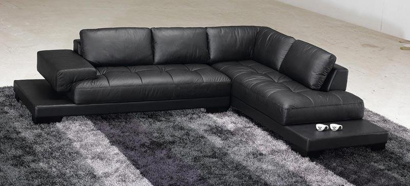 : contemporary black leather sofa set
