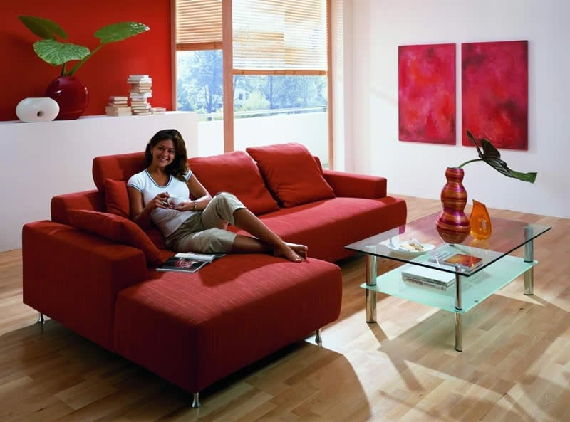 Decorating ideas living room red leather sofa couch Red sofa ideas