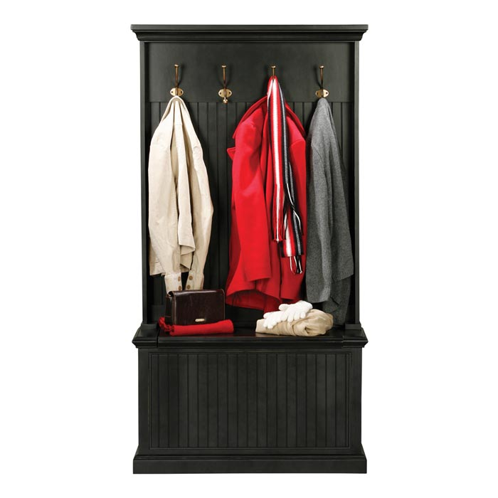 hall tree and storage bench black