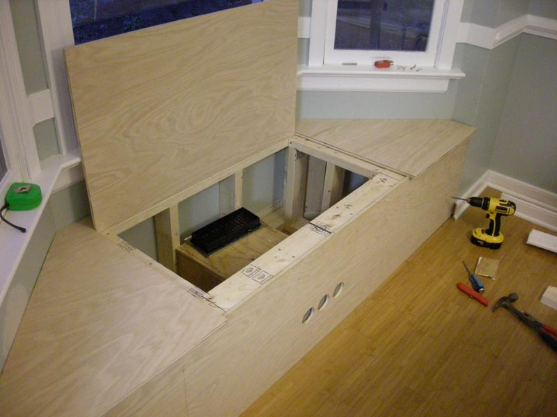 how to build a bay window bench with storage