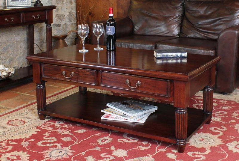 mahogany coffee table with drawers