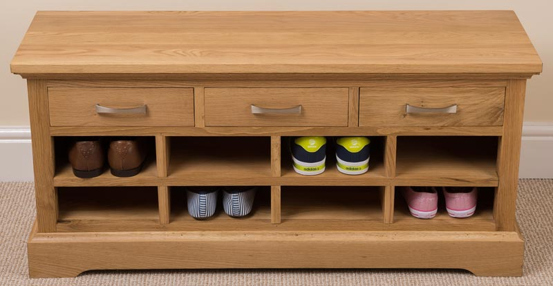 oak shoe rack bench