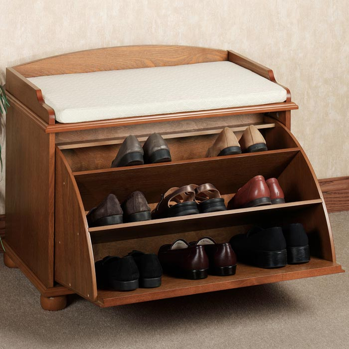 oak shoe storage bench
