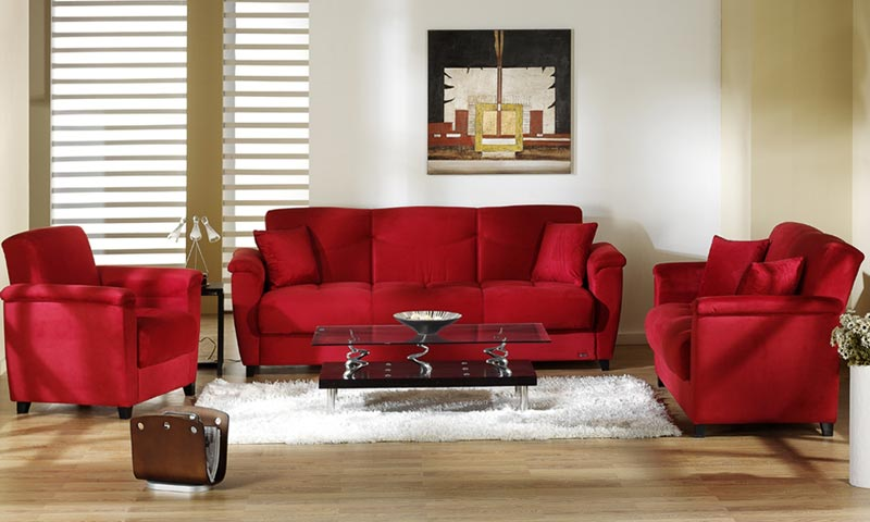 Decorating ideas living room red leather sofa couch for Red couch living room