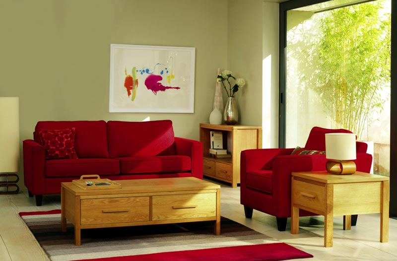 red leather sofa living room ideas5