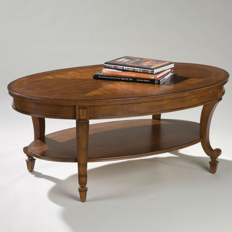 oval coffee table wood