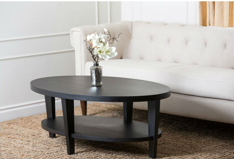 small oval coffee table wood