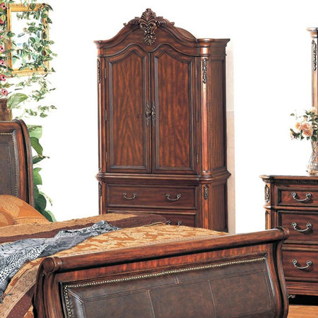 : wardrobe bedroom armoire cherry finish