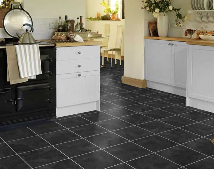 quartz floor tiles black