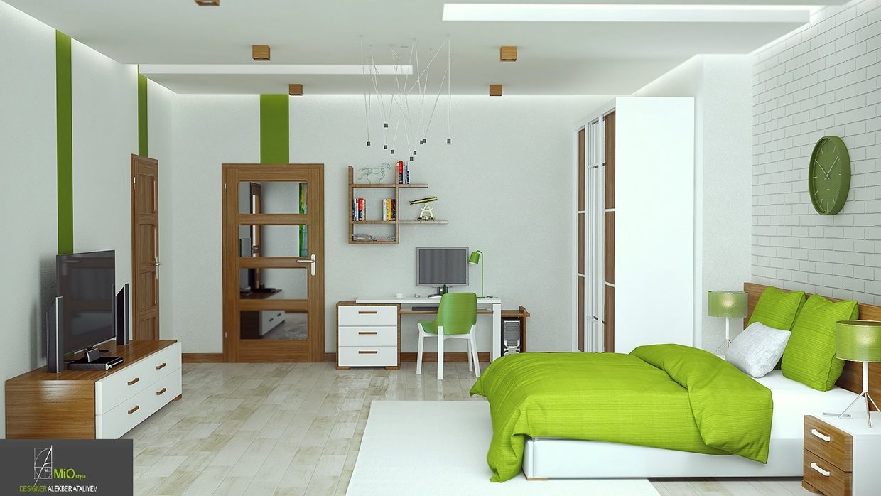 5 green accents via thick wall