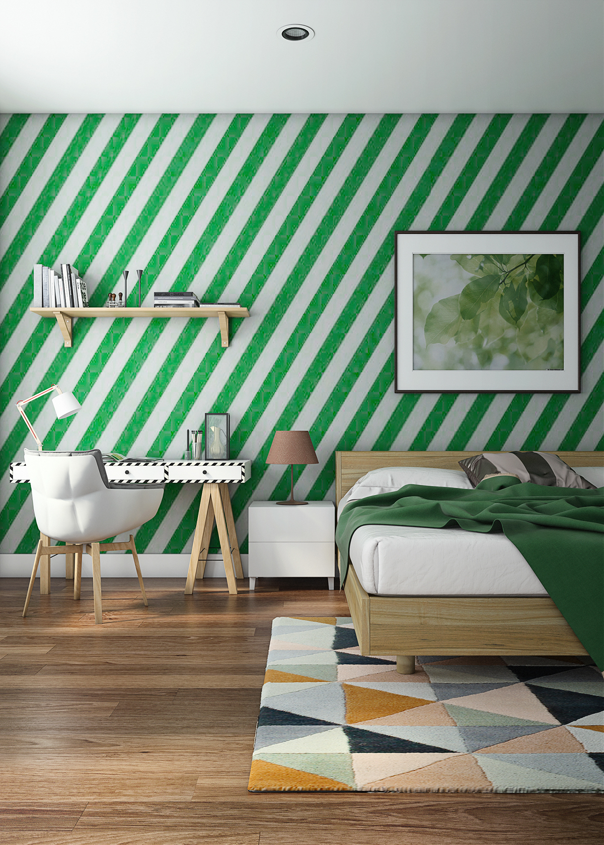 13 Kong Choong Yew. Ultra modern and unique bedroom with dark green color