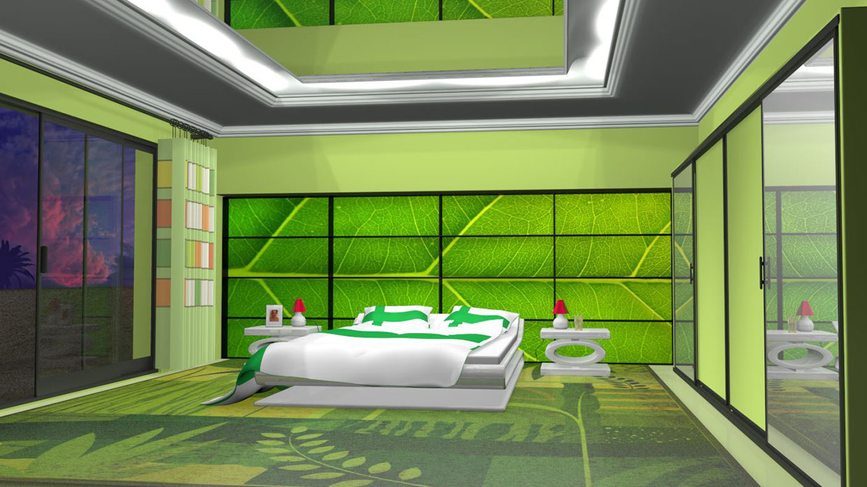 14 Konrad Czajkowski. An awesome green bedroom...