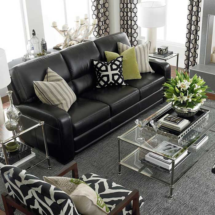 : black leather sofa cushion ideas