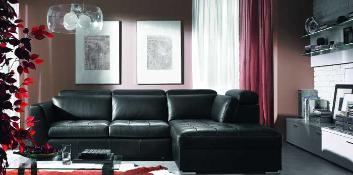 : black leather sofa living room ideas