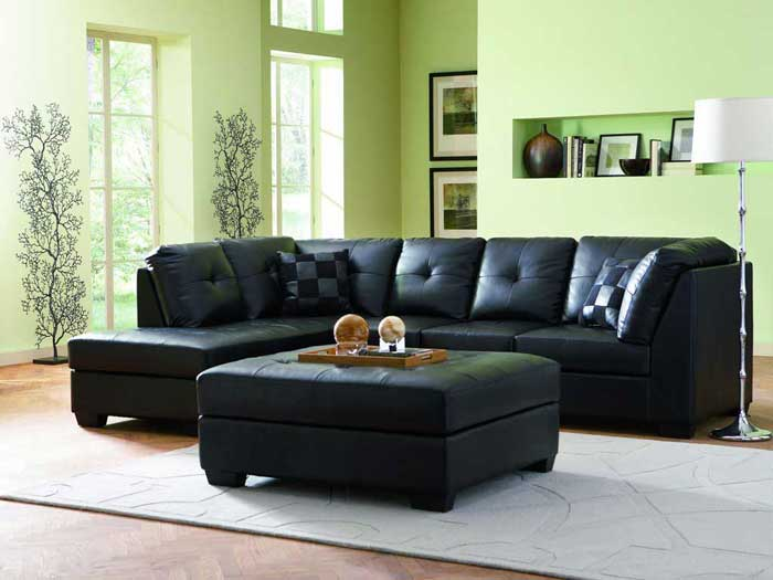 : black leather sofa lounge ideas