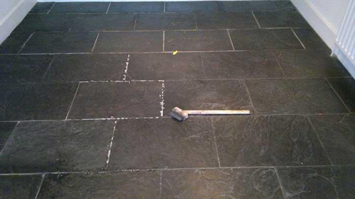 black slate effect floor tiles