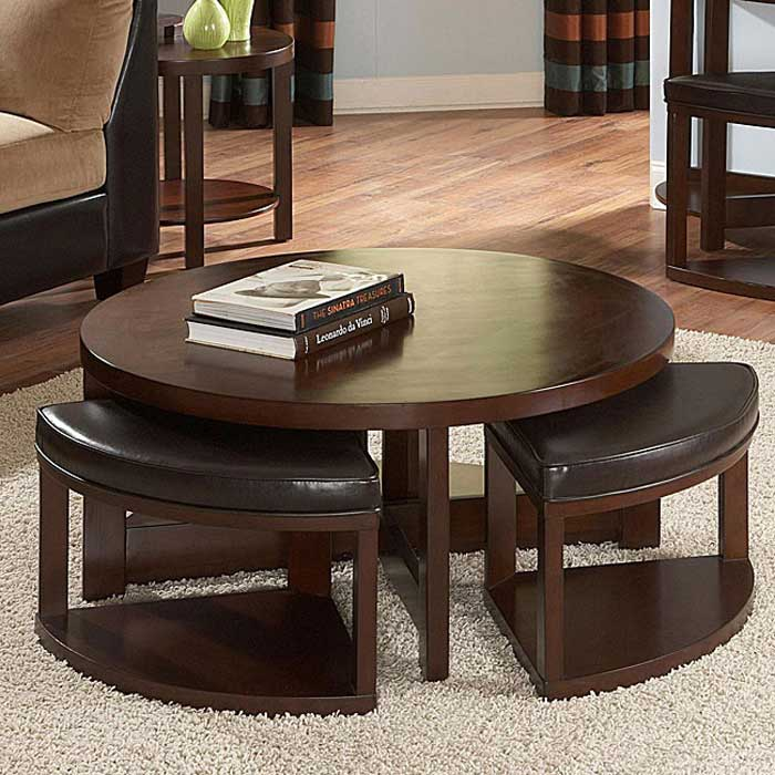 crestfield dark brown coffee table storage ottoman set