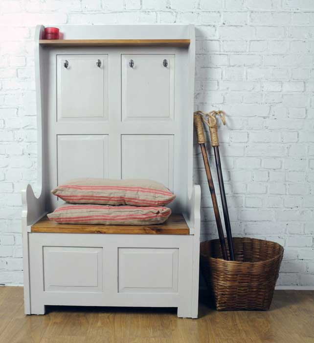 storage bench seat with coat hooks