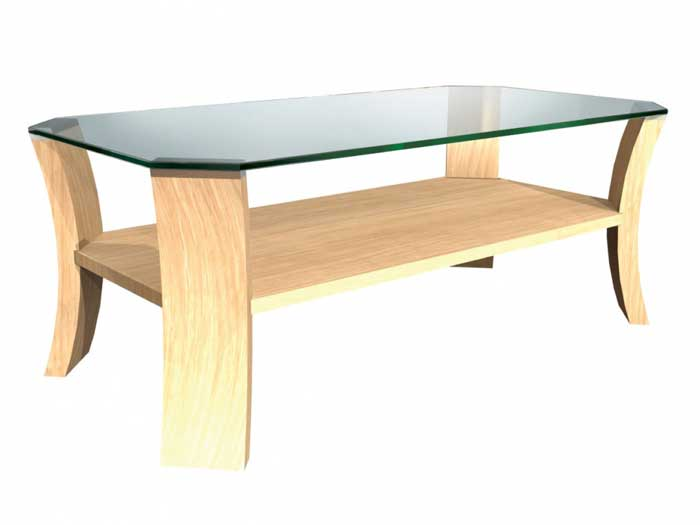 light oak and glass coffee table