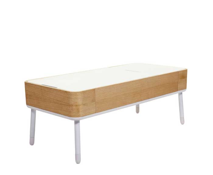 light oak and white coffee table