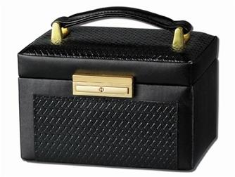 black crocodile jewellery box with travel case