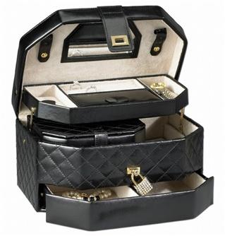 black jewellery box with lock