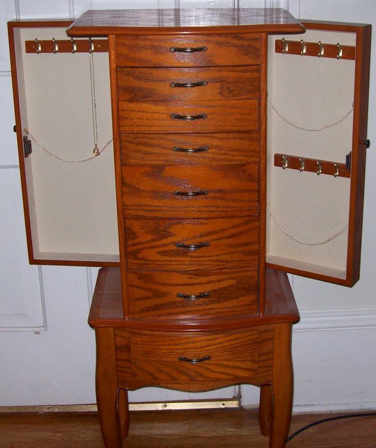 oak stand up jewelry box