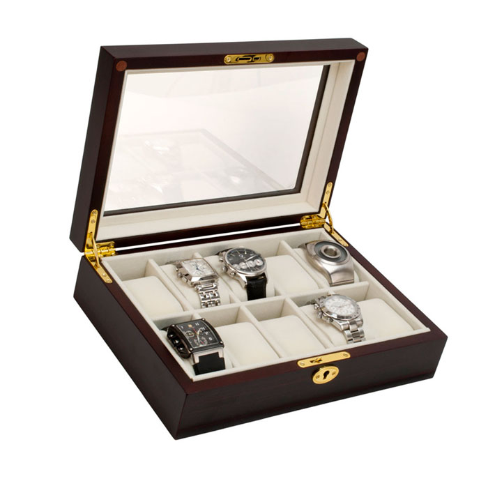 10 watch wood box with glass top