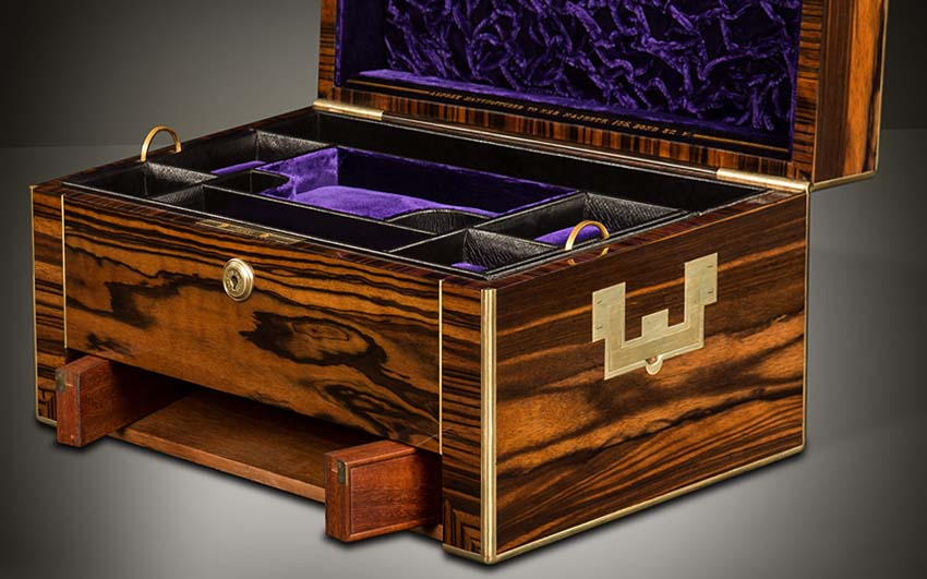 Antique jewelry box with secret compartment