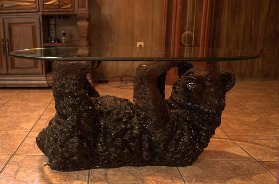 Black bear glass coffee table ebay
