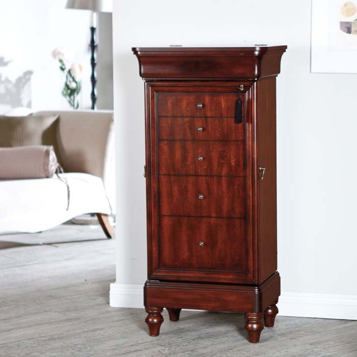 Cherry jewelry armoire with lock