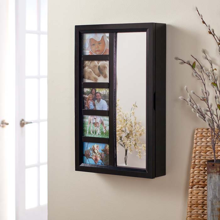 Cheval mirror jewelry armoire black