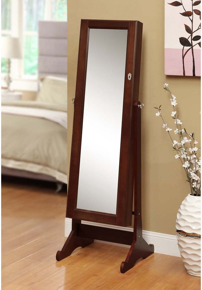 Cheval mirror jewelry armoire with lock