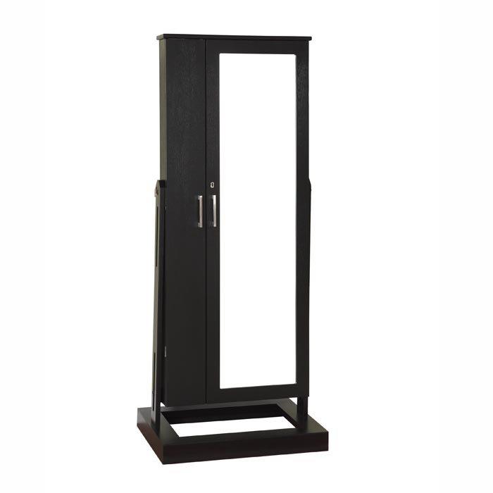 Full length mirror jewelry armoire black