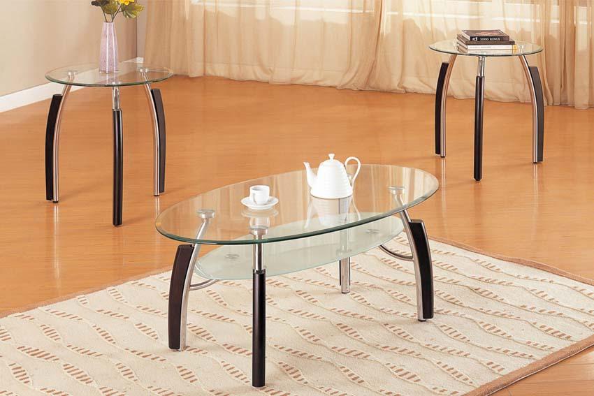 Glass oval coffee table